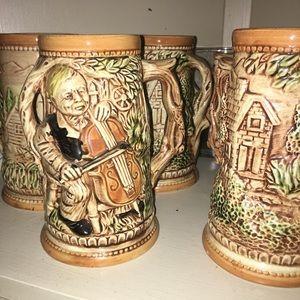Vintage beer mug collection and old Wine bottle